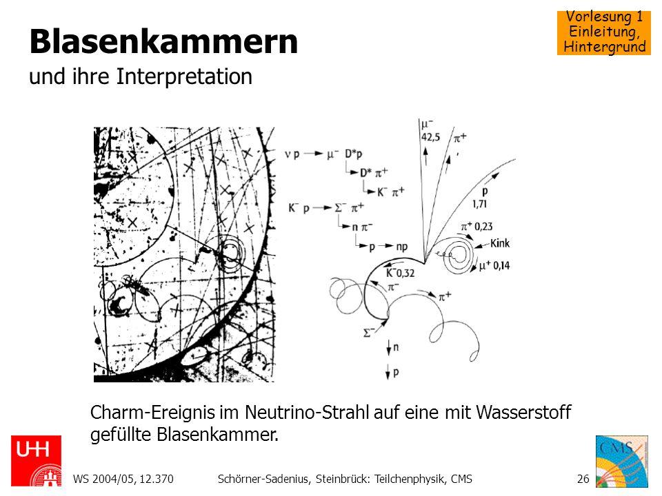 Vorlesung 1 Einleitung, Hintergrund WS 2004/05, 12.370Schörner-Sadenius, Steinbrück: Teilchenphysik, CMS26 Blasenkammern und ihre Interpretation Charm