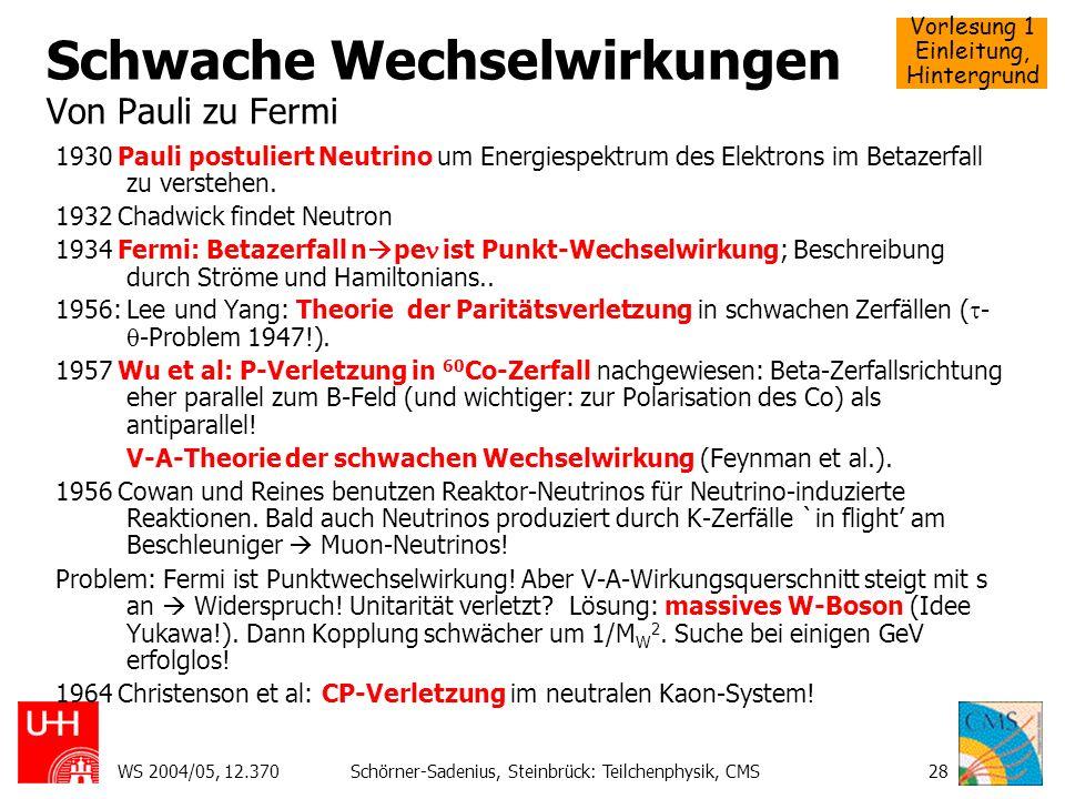 Vorlesung 1 Einleitung, Hintergrund WS 2004/05, 12.370Schörner-Sadenius, Steinbrück: Teilchenphysik, CMS28 Schwache Wechselwirkungen Von Pauli zu Ferm