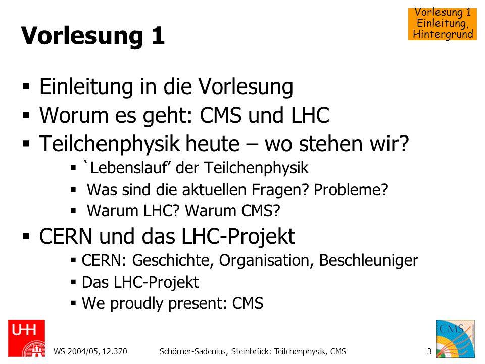 Vorlesung 1 Einleitung, Hintergrund WS 2004/05, 12.370Schörner-Sadenius, Steinbrück: Teilchenphysik, CMS54 Probleme der Teilchenphysik Welche Fragen brauchen den LHC.