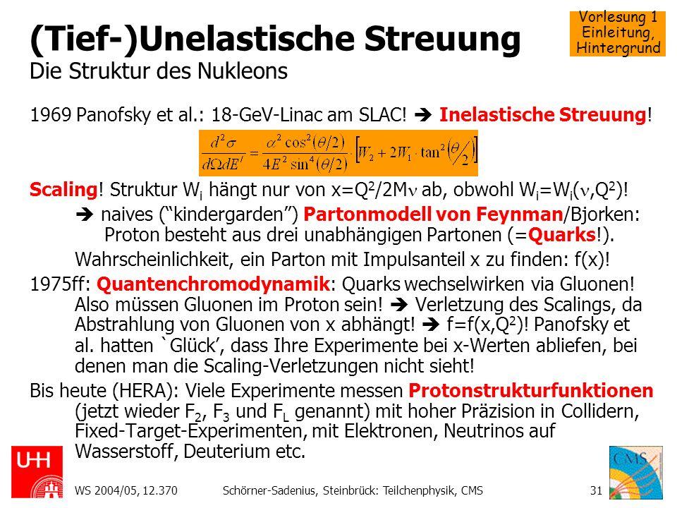 Vorlesung 1 Einleitung, Hintergrund WS 2004/05, 12.370Schörner-Sadenius, Steinbrück: Teilchenphysik, CMS31 (Tief-)Unelastische Streuung Die Struktur d