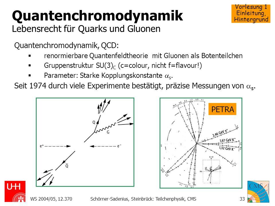Vorlesung 1 Einleitung, Hintergrund WS 2004/05, 12.370Schörner-Sadenius, Steinbrück: Teilchenphysik, CMS33 Quantenchromodynamik Lebensrecht für Quarks