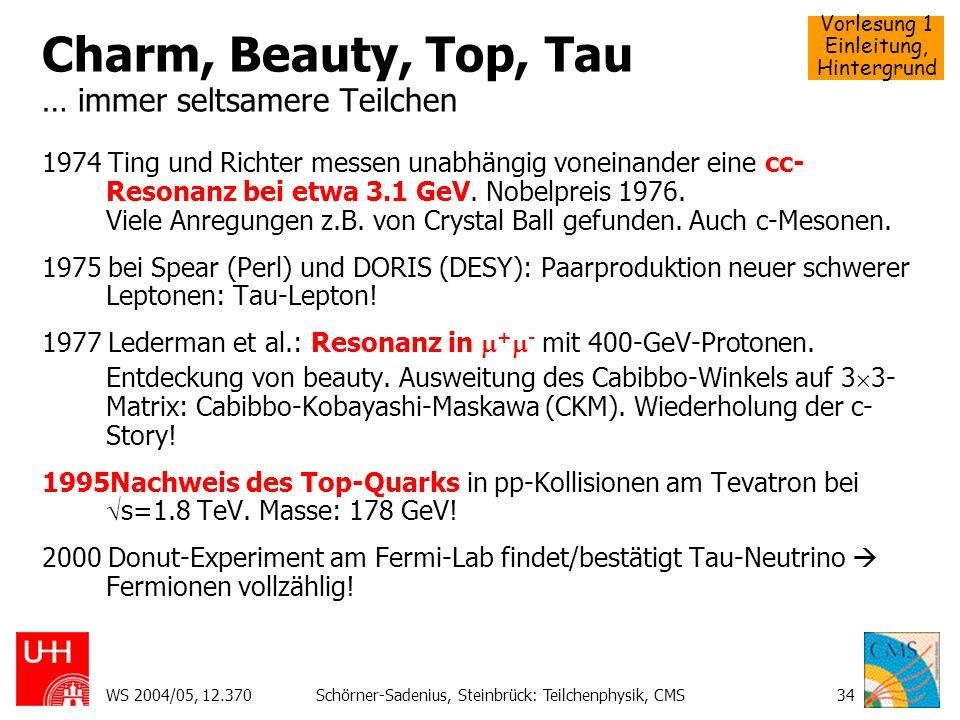 Vorlesung 1 Einleitung, Hintergrund WS 2004/05, 12.370Schörner-Sadenius, Steinbrück: Teilchenphysik, CMS34 Charm, Beauty, Top, Tau … immer seltsamere