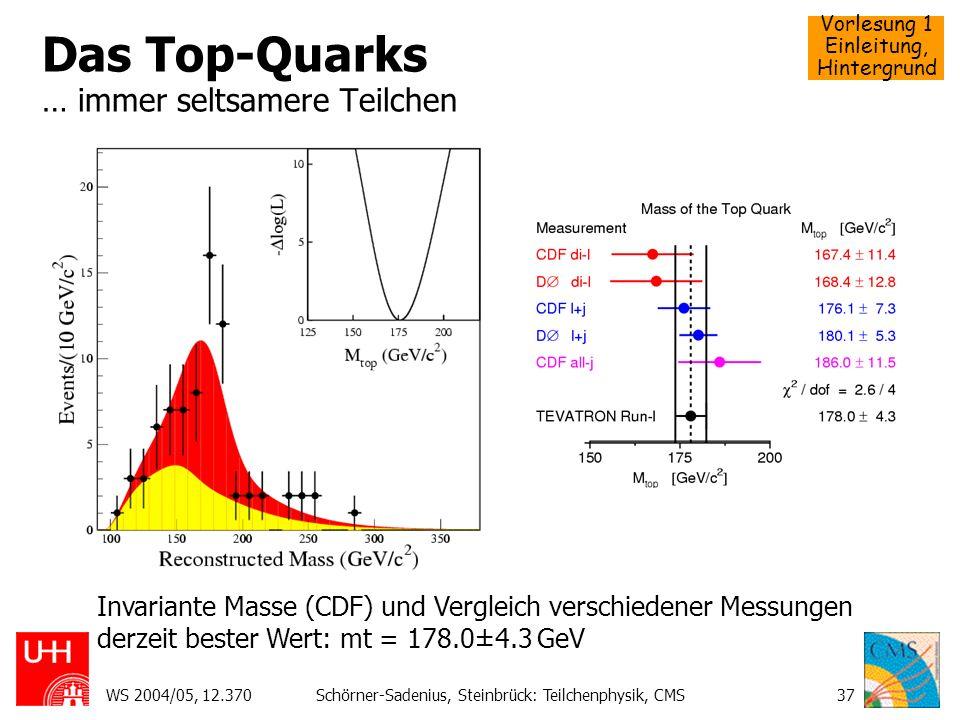 Vorlesung 1 Einleitung, Hintergrund WS 2004/05, 12.370Schörner-Sadenius, Steinbrück: Teilchenphysik, CMS37 Das Top-Quarks … immer seltsamere Teilchen