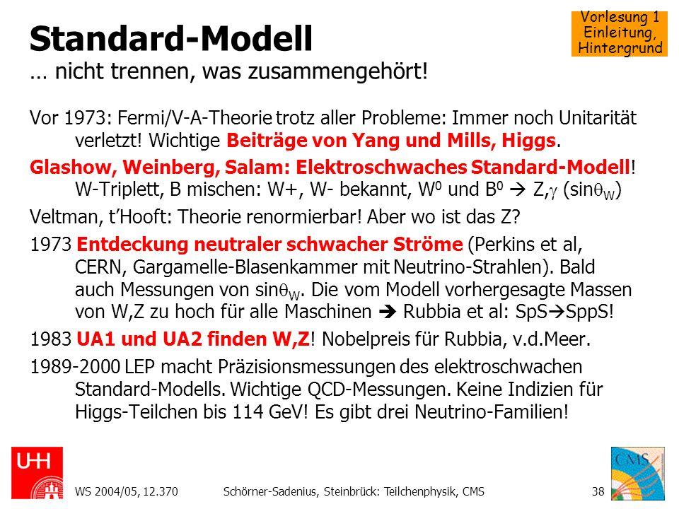 Vorlesung 1 Einleitung, Hintergrund WS 2004/05, 12.370Schörner-Sadenius, Steinbrück: Teilchenphysik, CMS38 Standard-Modell … nicht trennen, was zusamm