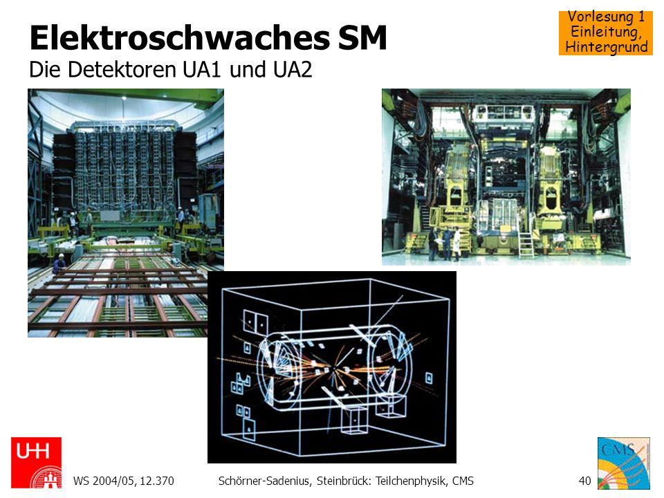 Vorlesung 1 Einleitung, Hintergrund WS 2004/05, 12.370Schörner-Sadenius, Steinbrück: Teilchenphysik, CMS40 Elektroschwaches SM Die Detektoren UA1 und
