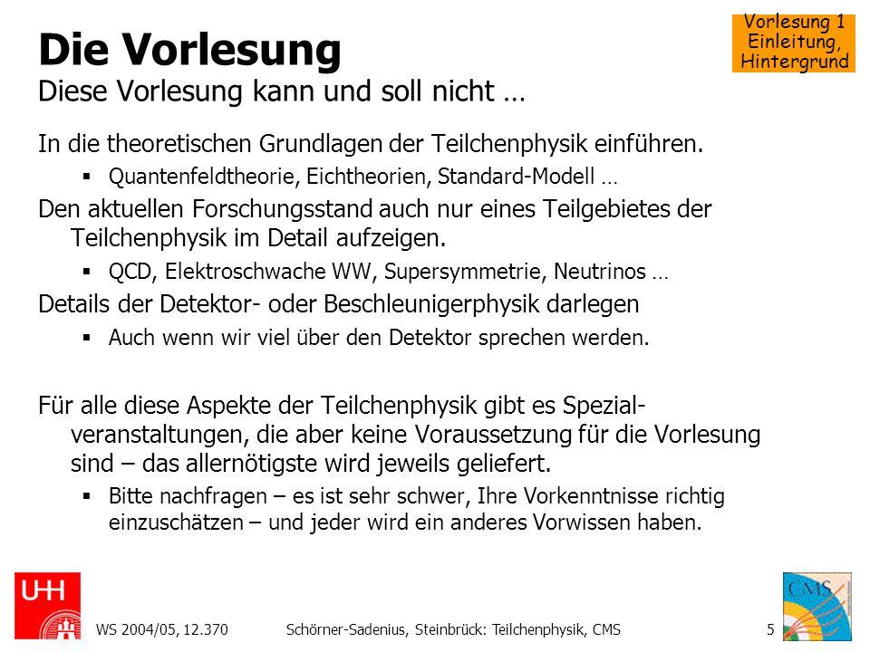 Vorlesung 1 Einleitung, Hintergrund WS 2004/05, 12.370Schörner-Sadenius, Steinbrück: Teilchenphysik, CMS56 Probleme der Teilchenphysik Vereinheitlichung der Kopplungskonstanten Ohne SUSYMit SUSY Korrekturen zur Higgs-Masse
