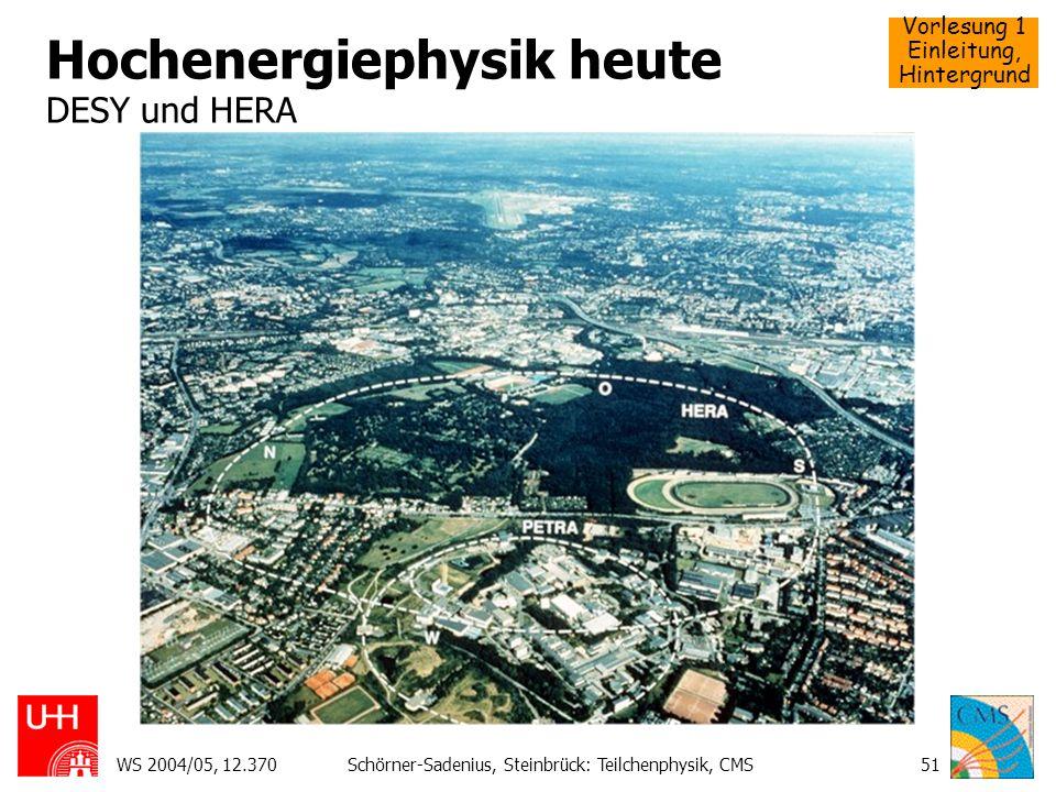 Vorlesung 1 Einleitung, Hintergrund WS 2004/05, 12.370Schörner-Sadenius, Steinbrück: Teilchenphysik, CMS51 Hochenergiephysik heute DESY und HERA