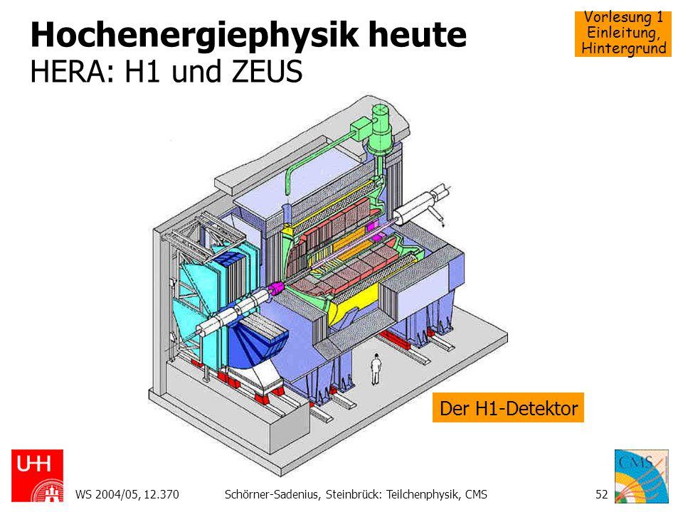 Vorlesung 1 Einleitung, Hintergrund WS 2004/05, 12.370Schörner-Sadenius, Steinbrück: Teilchenphysik, CMS52 Hochenergiephysik heute HERA: H1 und ZEUS D