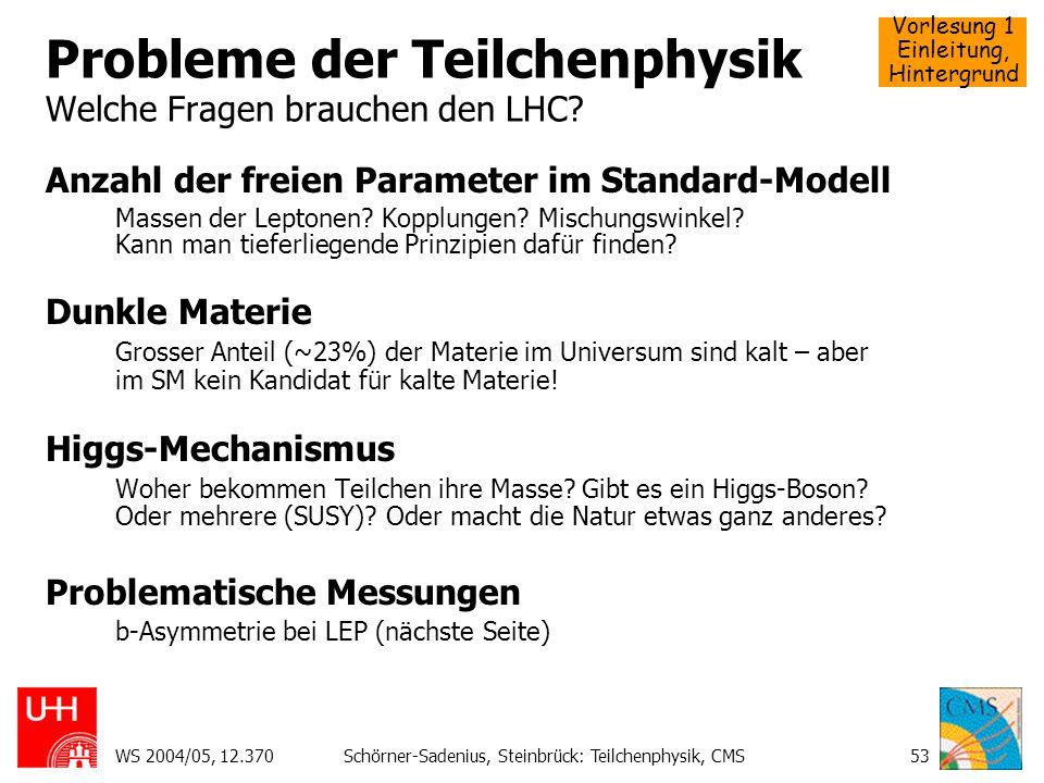 Vorlesung 1 Einleitung, Hintergrund WS 2004/05, 12.370Schörner-Sadenius, Steinbrück: Teilchenphysik, CMS53 Probleme der Teilchenphysik Welche Fragen b