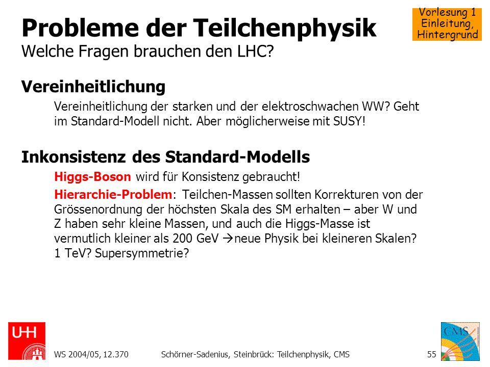 Vorlesung 1 Einleitung, Hintergrund WS 2004/05, 12.370Schörner-Sadenius, Steinbrück: Teilchenphysik, CMS55 Probleme der Teilchenphysik Welche Fragen b