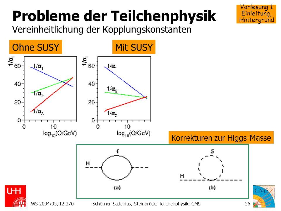 Vorlesung 1 Einleitung, Hintergrund WS 2004/05, 12.370Schörner-Sadenius, Steinbrück: Teilchenphysik, CMS56 Probleme der Teilchenphysik Vereinheitlichu