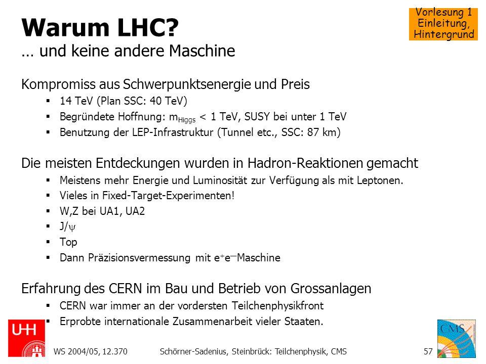 Vorlesung 1 Einleitung, Hintergrund WS 2004/05, 12.370Schörner-Sadenius, Steinbrück: Teilchenphysik, CMS57 Warum LHC? … und keine andere Maschine Komp