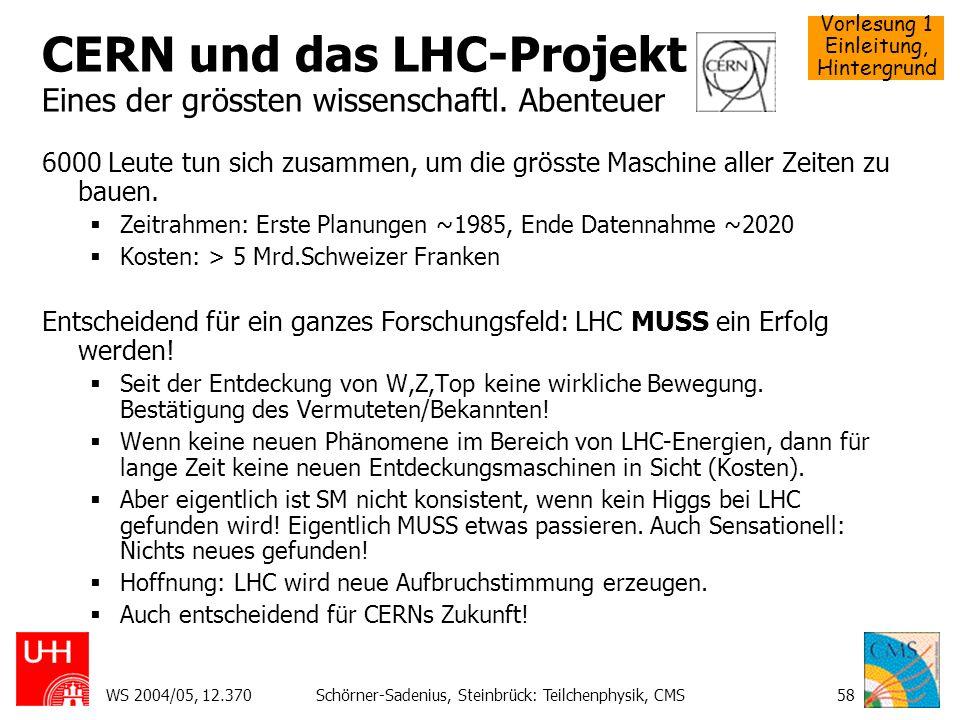 Vorlesung 1 Einleitung, Hintergrund WS 2004/05, 12.370Schörner-Sadenius, Steinbrück: Teilchenphysik, CMS58 CERN und das LHC-Projekt Eines der grössten