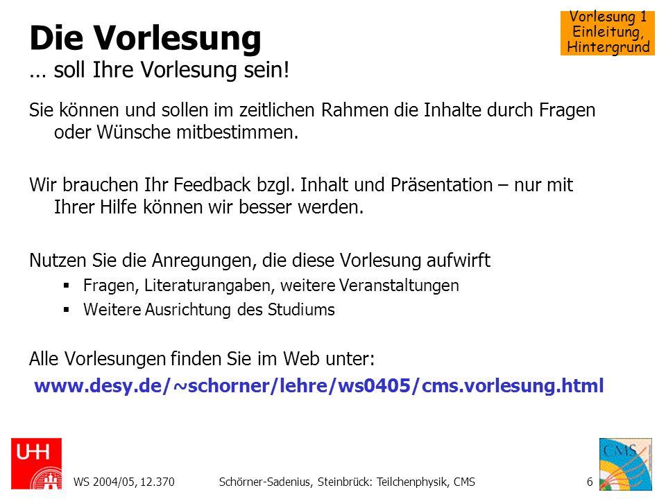 Vorlesung 1 Einleitung, Hintergrund WS 2004/05, 12.370Schörner-Sadenius, Steinbrück: Teilchenphysik, CMS7 Worum es geht: LHC L arge H adron C ollider CERN