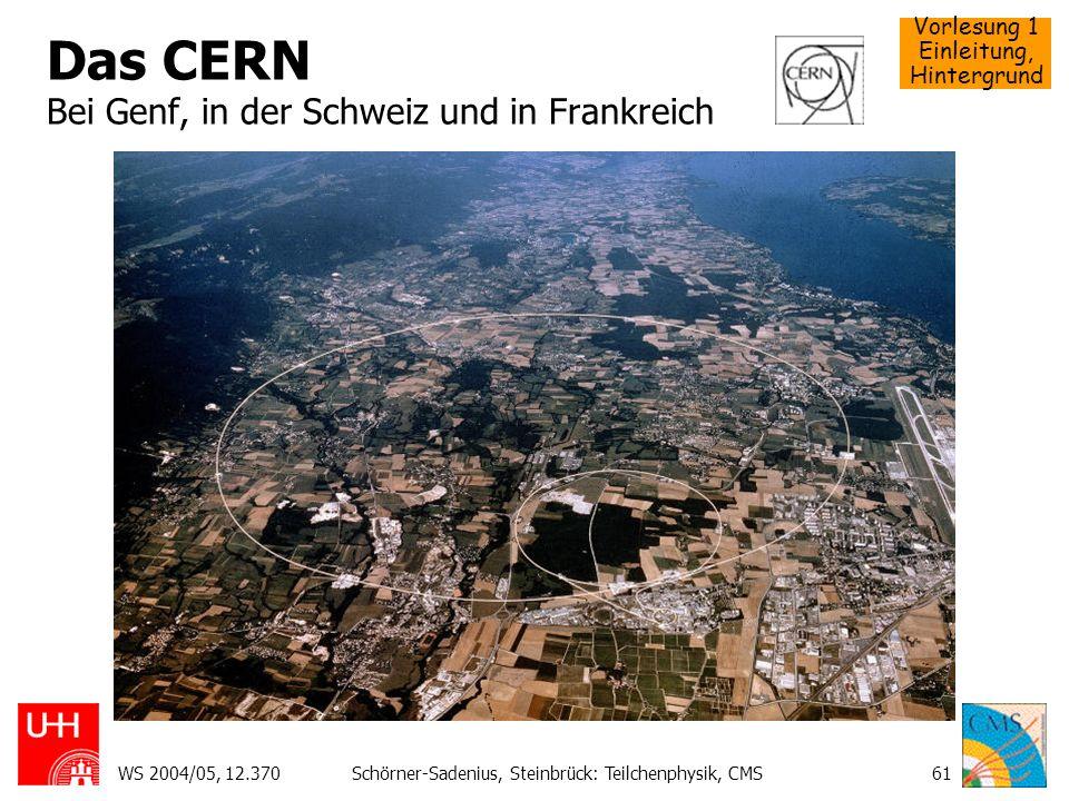 Vorlesung 1 Einleitung, Hintergrund WS 2004/05, 12.370Schörner-Sadenius, Steinbrück: Teilchenphysik, CMS61 Das CERN Bei Genf, in der Schweiz und in Fr