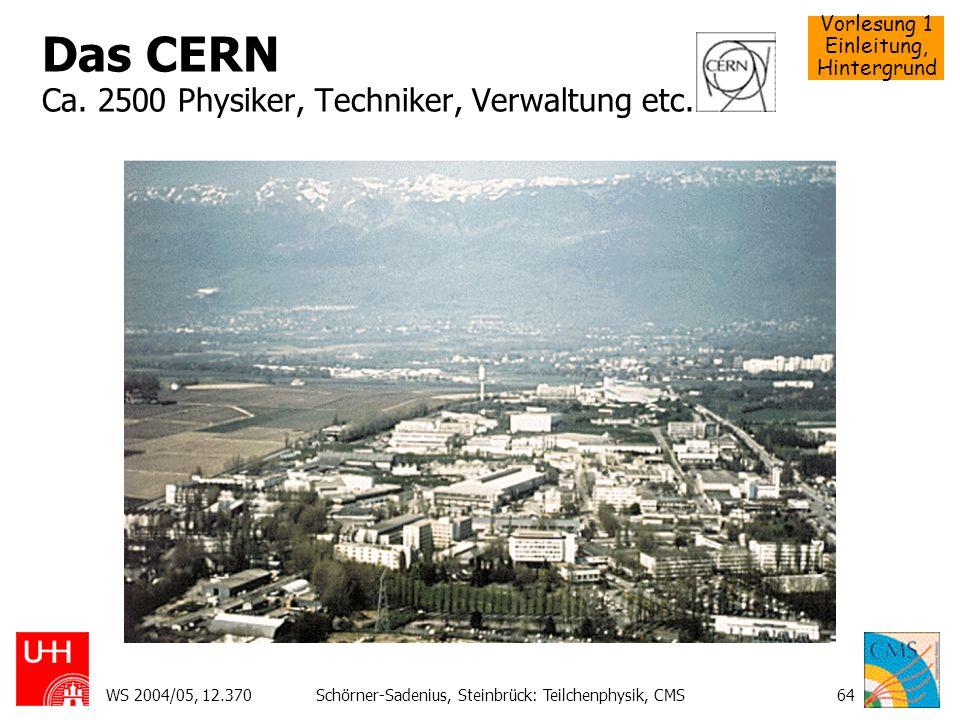 Vorlesung 1 Einleitung, Hintergrund WS 2004/05, 12.370Schörner-Sadenius, Steinbrück: Teilchenphysik, CMS64 Das CERN Ca. 2500 Physiker, Techniker, Verw