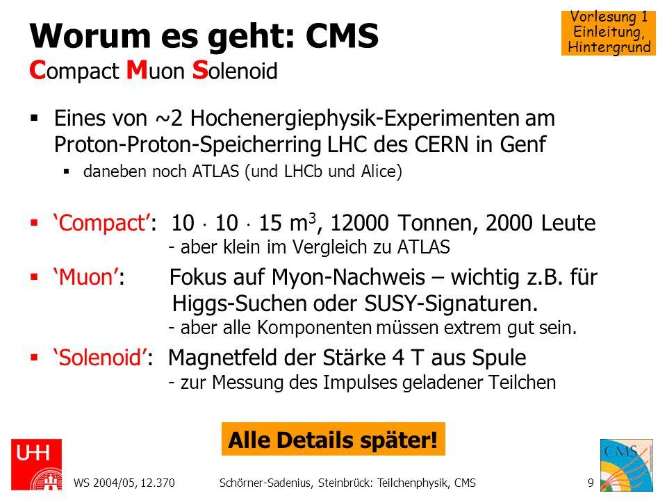 Vorlesung 1 Einleitung, Hintergrund WS 2004/05, 12.370Schörner-Sadenius, Steinbrück: Teilchenphysik, CMS30 Lepton-Proton Streuung Die Struktur des Nukleons (elastisch) Quark-Modell erlaubte Klassifizierung der Resonanzen; aber Interpretation der Wirkungsquerschnitte schwieriger.