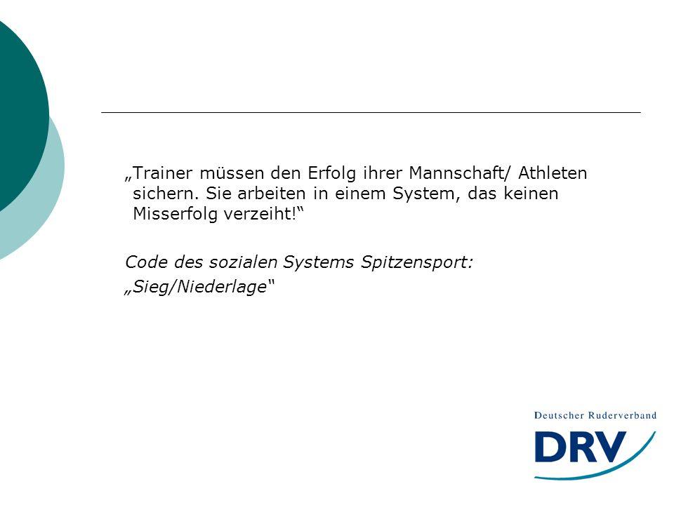 Trainer müssen den Erfolg ihrer Mannschaft/ Athleten sichern.