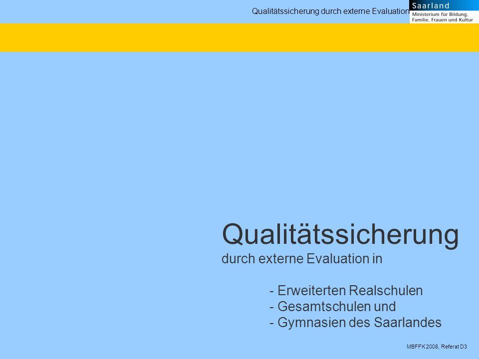 MBFFK 2008, Referat D3 Qualitätssicherung durch externe Evaluation In allen Bundesländern sind in den letzten Jahren Systeme der externen Evaluation von Schulen auf den Weg gebracht worden.