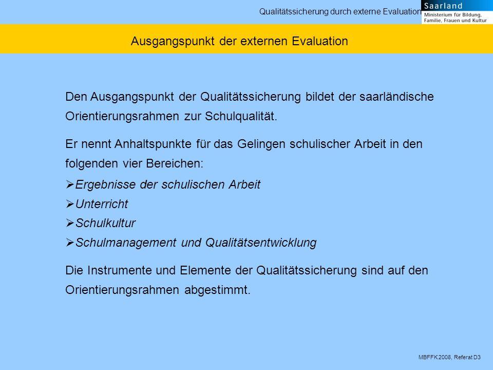 MBFFK 2008, Referat D3 Qualitätssicherung durch externe Evaluation Ausgangspunkt der externen Evaluation Den Ausgangspunkt der Qualitätssicherung bildet der saarländische Orientierungsrahmen zur Schulqualität.