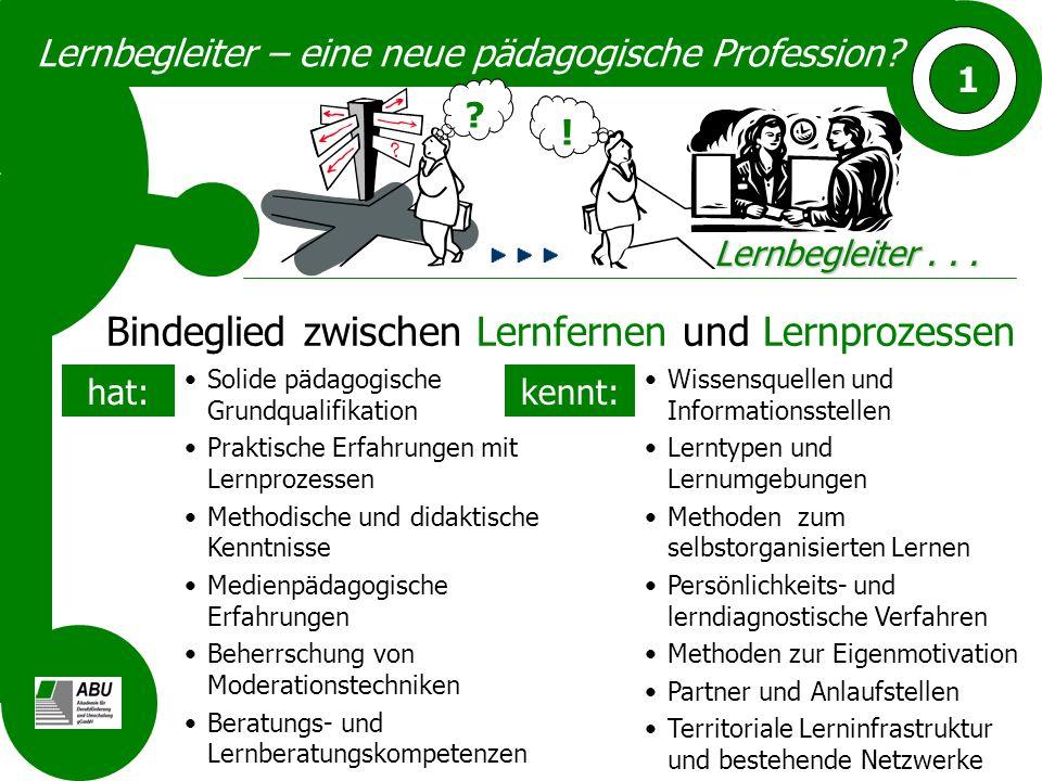 Lernbegleiter – eine neue pädagogische Profession? 1 ? !!! Lernbegleiter... ? Bindeglied zwischen Lernfernen und Lernprozessen Solide pädagogische Gru