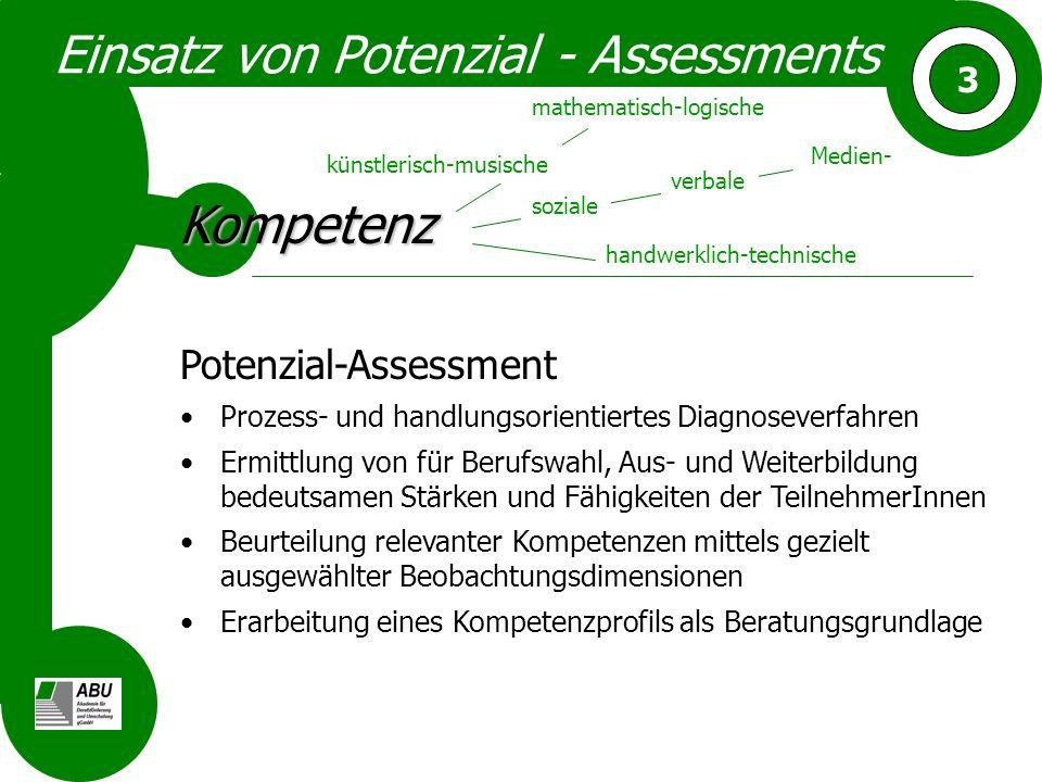 3 Einsatz von Potenzial - Assessments Potenzial-Assessment Prozess- und handlungsorientiertes Diagnoseverfahren Ermittlung von für Berufswahl, Aus- un