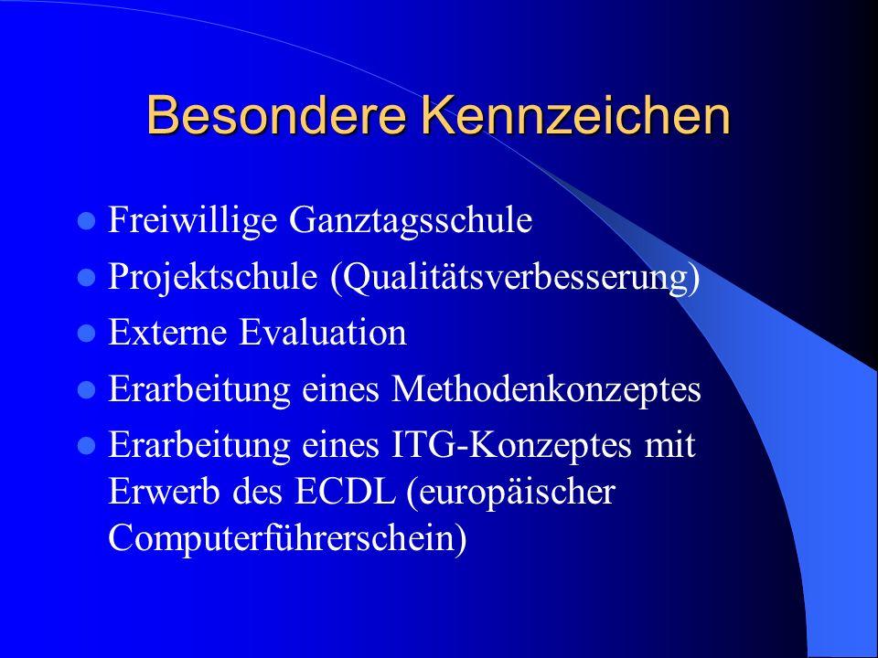Besondere Kennzeichen Freiwillige Ganztagsschule Projektschule (Qualitätsverbesserung) Externe Evaluation Erarbeitung eines Methodenkonzeptes Erarbeit
