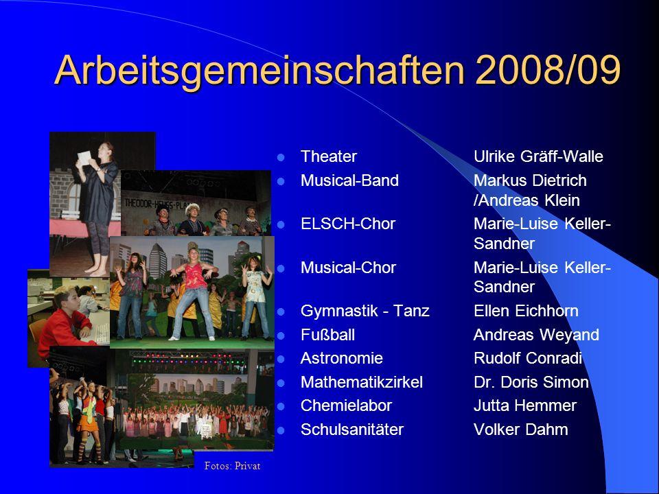 Arbeitsgemeinschaften 2008/09 TheaterUlrike Gräff-Walle Musical-Band Markus Dietrich /Andreas Klein ELSCH-Chor Marie-Luise Keller- Sandner Musical-Cho