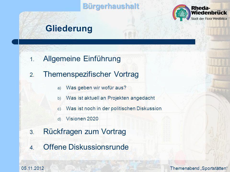 05.11.2012 Sport in Rheda-WiedenbrückBürgerhaushalt Themenabend Sportstätten Zahl der im Stadtsportverband organisierten Vereine: 40 Zahl der Mitglieder: ca.