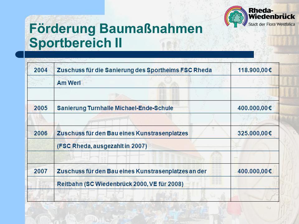 Förderung Baumaßnahmen Sportbereich II 2004Zuschuss für die Sanierung des Sportheims FSC Rheda118.900,00 Am Werl 2005Sanierung Turnhalle Michael-Ende-