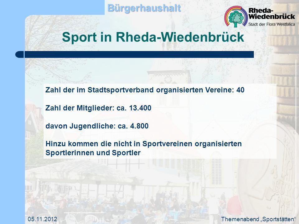 Visionen 2020 Fachbereich Jugend, Bildung und Sport: Für alle Bürger der Stadt Rheda- Wiedenbrück stehen ausreichende und bedarfsgerechte Sportangebote zur Verfügung Der demographische Wandel und die Bedarfe des nicht organisierten Sportes sind angemessen berücksichtigt.