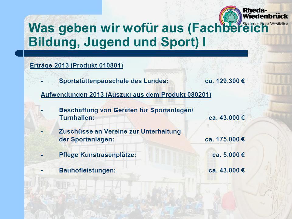 Was geben wir wofür aus (Fachbereich Bildung, Jugend und Sport) I Erträge 2013 (Produkt 010801) -Sportstättenpauschale des Landes:ca. 129.300 Aufwendu