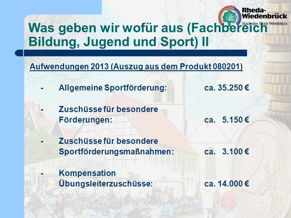 Was geben wir wofür aus (Fachbereich Bildung, Jugend und Sport) II Aufwendungen 2013 (Auszug aus dem Produkt 080201) -Allgemeine Sportförderung: ca. 3