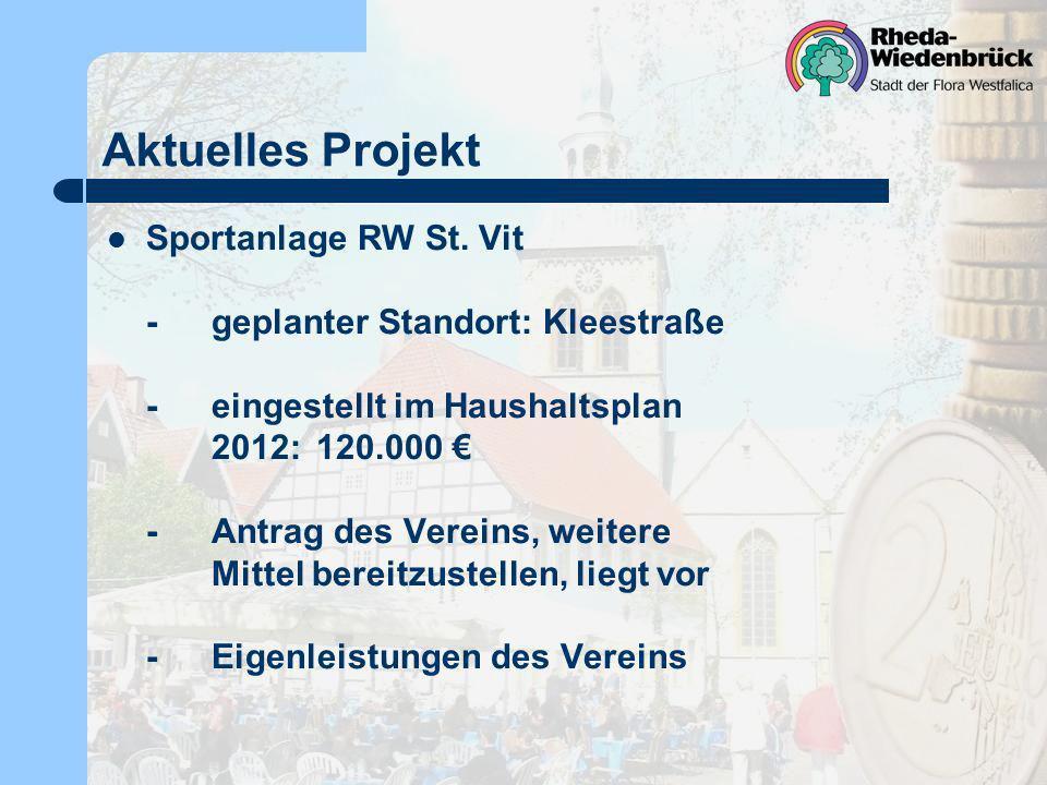 Aktuelles Projekt Sportanlage RW St. Vit -geplanter Standort: Kleestraße -eingestellt im Haushaltsplan 2012: 120.000 -Antrag des Vereins, weitere Mitt