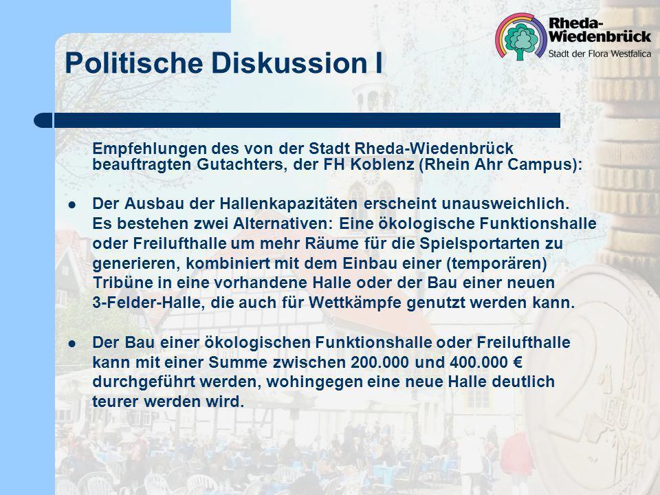 Politische Diskussion I Empfehlungen des von der Stadt Rheda-Wiedenbrück beauftragten Gutachters, der FH Koblenz (Rhein Ahr Campus): Der Ausbau der Hallenkapazitäten erscheint unausweichlich.