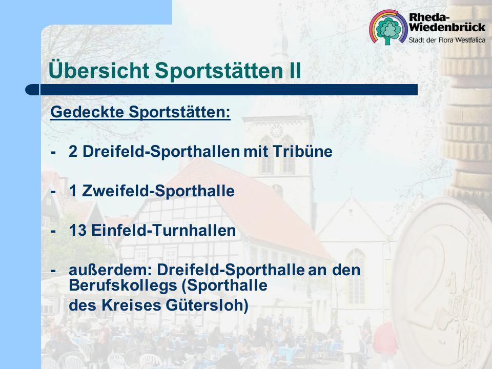 Übersicht Sportstätten II Gedeckte Sportstätten: -2 Dreifeld-Sporthallen mit Tribüne -1 Zweifeld-Sporthalle -13 Einfeld-Turnhallen -außerdem: Dreifeld