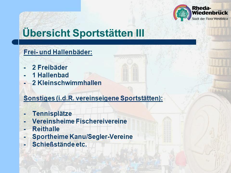 Übersicht Sportstätten III Frei- und Hallenbäder: -2 Freibäder -1 Hallenbad -2 Kleinschwimmhallen Sonstiges (i.d.R. vereinseigene Sportstätten): - Ten