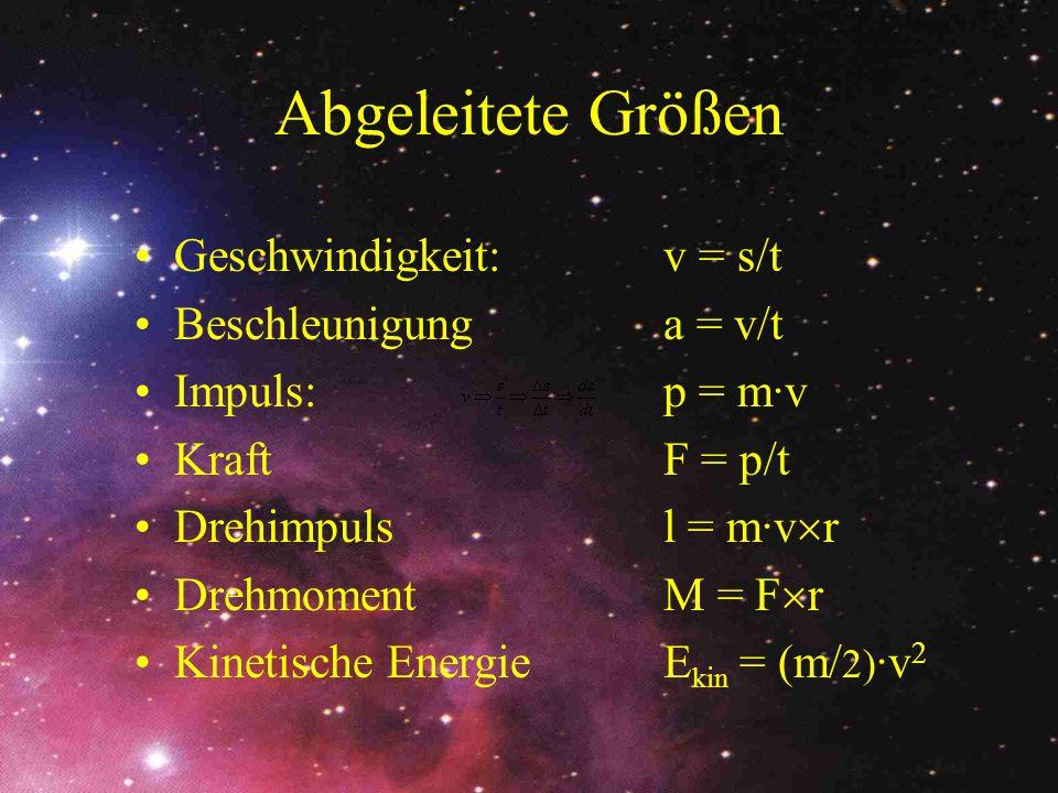 Abgeleitete Größen Geschwindigkeit: v = s/t Beschleunigunga = v/t Impuls:p = m·v KraftF = p/t Drehimpulsl = m·v r DrehmomentM = F r Kinetische Energie