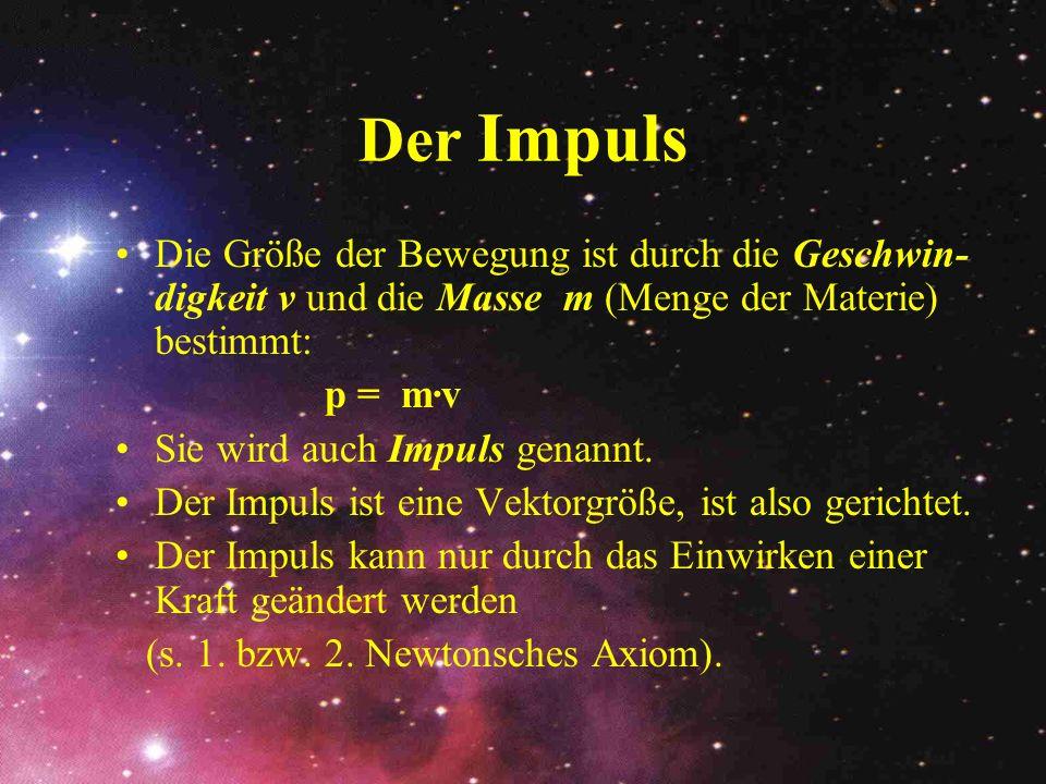 Der Impuls Die Größe der Bewegung ist durch die Geschwin- digkeit v und die Masse m (Menge der Materie) bestimmt: p = m·v Sie wird auch Impuls genannt