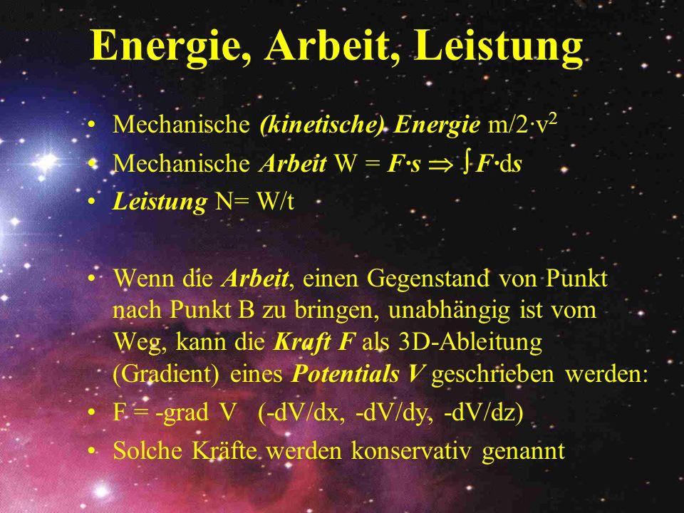 Energie, Arbeit, Leistung Mechanische (kinetische) Energie m/2·v 2 Mechanische Arbeit W = F·s F·ds Leistung N= W/t Wenn die Arbeit, einen Gegenstand v