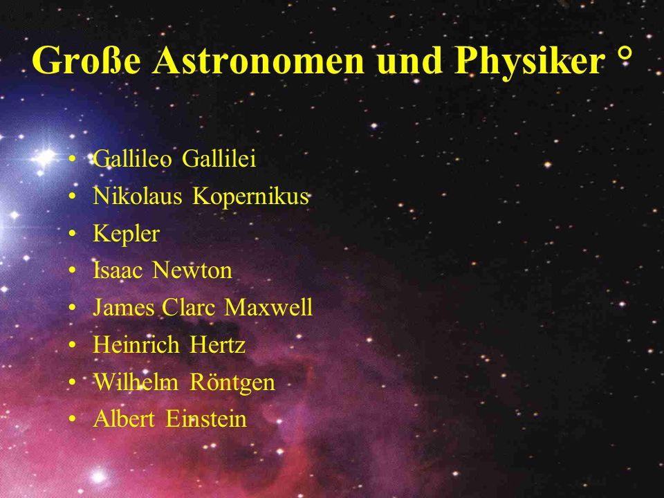 Große Astronomen und Physiker ° Gallileo Gallilei Nikolaus Kopernikus Kepler Isaac Newton James Clarc Maxwell Heinrich Hertz Wilhelm Röntgen Albert Ei