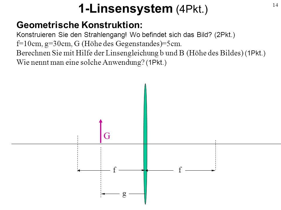 14 1-Linsensystem (4Pkt.) Geometrische Konstruktion: Konstruieren Sie den Strahlengang! Wo befindet sich das Bild? (2Pkt.) f=10cm, g=30cm, G (Höhe des