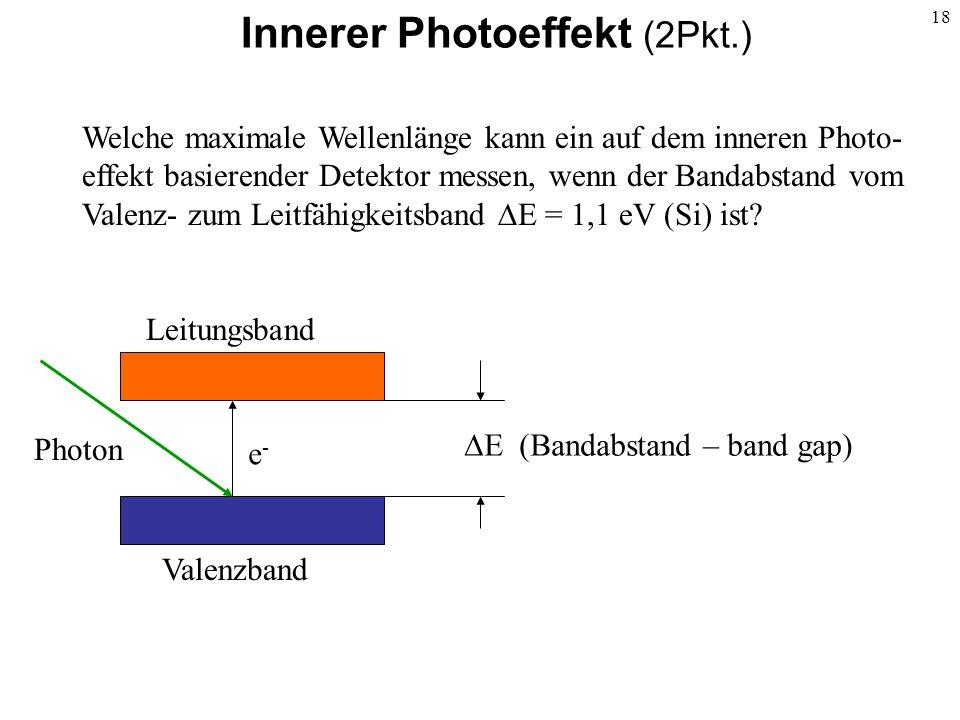 18 Innerer Photoeffekt (2Pkt.) Photon e-e- Valenzband Leitungsband E (Bandabstand – band gap) Welche maximale Wellenlänge kann ein auf dem inneren Pho