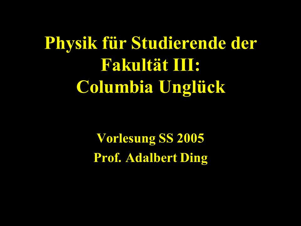 Physik für Studierende der Fakultät III: Columbia Unglück Vorlesung SS 2005 Prof. Adalbert Ding