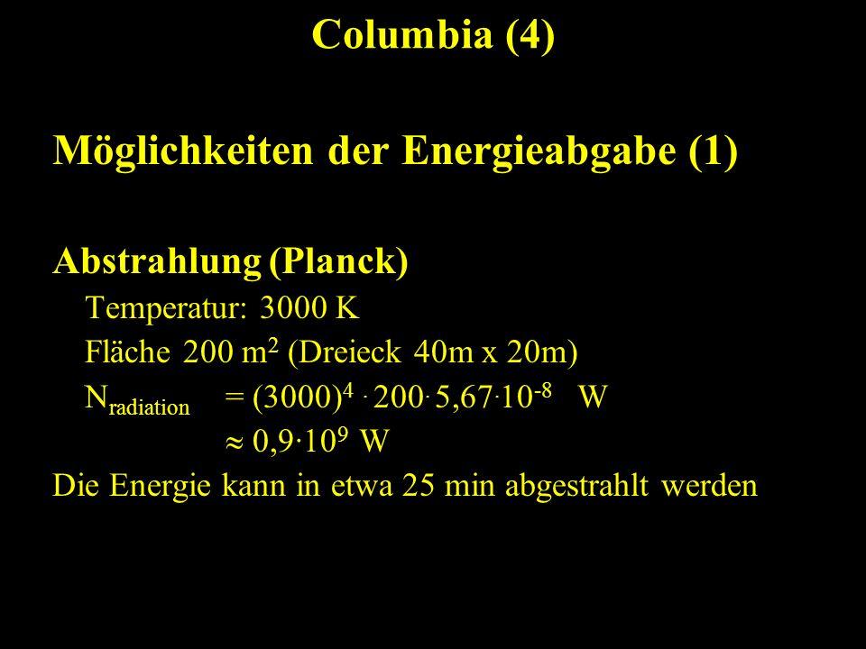 Columbia (4) Möglichkeiten der Energieabgabe (1) Abstrahlung (Planck) Temperatur: 3000 K Fläche 200 m 2 (Dreieck 40m x 20m) N radiation = (3000) 4. 20