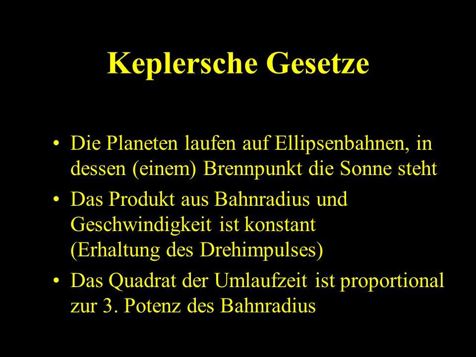Keplersche Gesetze Die Planeten laufen auf Ellipsenbahnen, in dessen (einem) Brennpunkt die Sonne steht Das Produkt aus Bahnradius und Geschwindigkeit