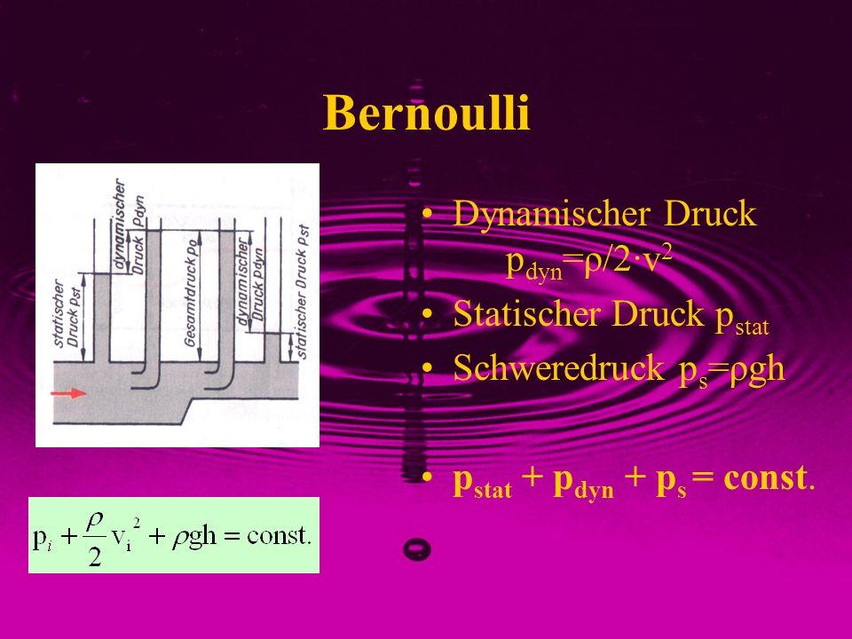 Bernoulli Dynamischer Druck p dyn =ρ/2·v 2 Statischer Druck p stat Schweredruck p s =ρgh p stat + p dyn + p s = const.