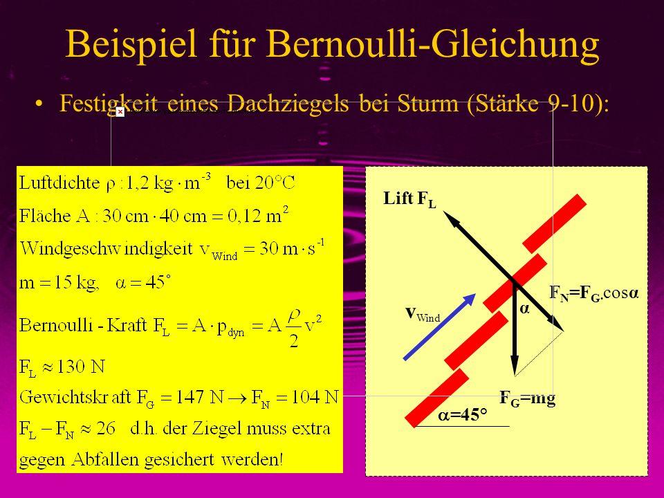 Beispiel für Bernoulli-Gleichung Festigkeit eines Dachziegels bei Sturm (Stärke 9-10): Lift F L F G =mg F N =F G· cosα v Wind α =45°