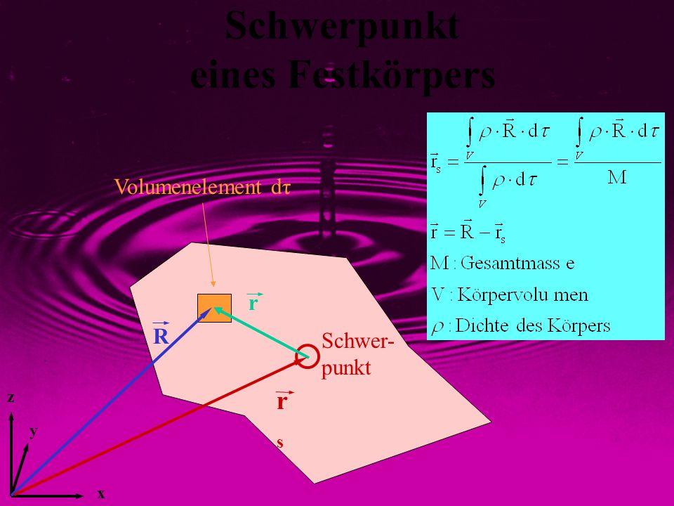 y z x Schwerpunkt eines Festkörpers Schwer- punkt r R rsrs Volumenelement dτ