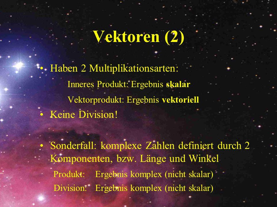 Vektorfelder Die ortsabhängigen Vektoren werden in Vektorfeldern zusammengefasst: Beispiele: Geschwindigkeitsfelder (z.B.